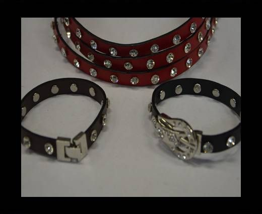 Eco Leather with Crystal 10mm-Red