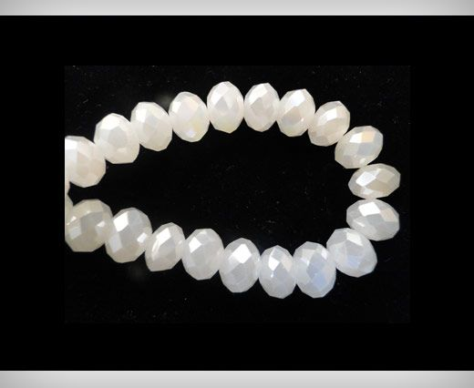 Faceted Glass Beads-8mm-White-Jade-AB
