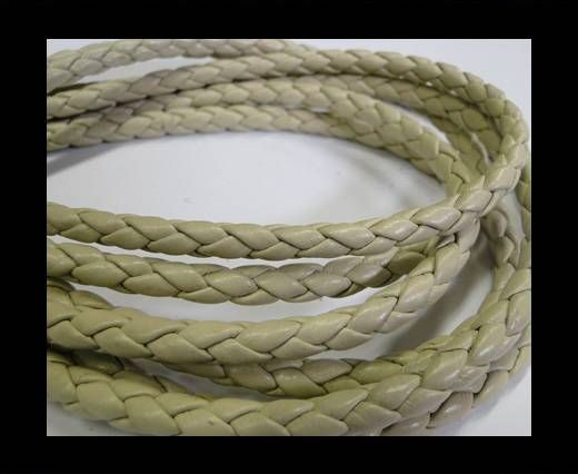 Fine Braided Nappa Leather Cords-6mm-CREAM