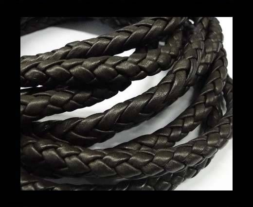 Buy Fine Braided Nappa Leather Cords  - dark brown-8mm at wholesale price
