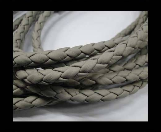 Fine Braided Nappa Leather Cords  - light grey-8mm