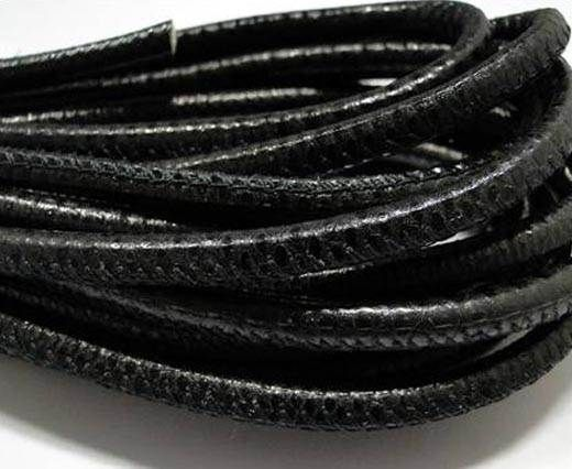 Buy Round stitched nappa leather cord Karung snake - Black-6mm at wholesale price