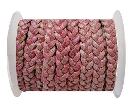 Choti-Flat 3-ply Braided Leather -5mm-Red white base