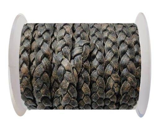 Flat 3-ply Braided Leather-SE-Brown-10MM