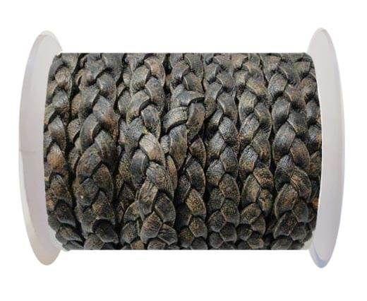 Flat 3-ply Braided Leather-SE-Black Matt Look-10MM
