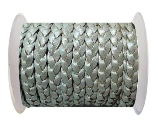 Flat 3-ply Braided Leather-SE-Metallic Silver-10MM