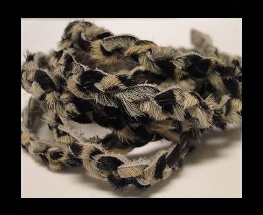 Braided Round Hair-on Leather-Zebra Skin-5mm