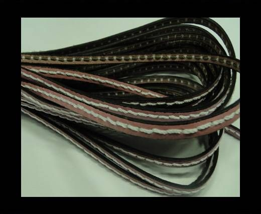 Flat Leather Cord With Thick Stitch-5mm-Pink