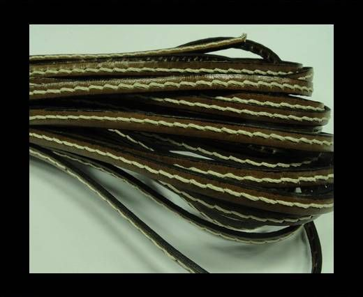 Flat Leather Cord With Thick Stitch-5mm-Brown