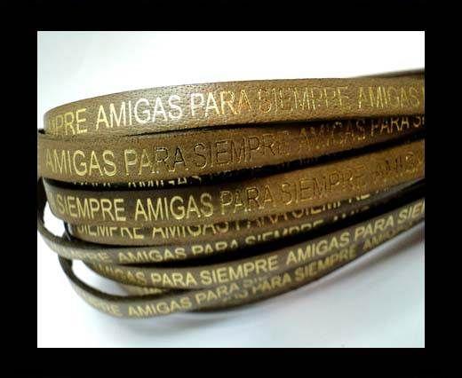 Flat Leather Cords - Amigas para siempre - 7mm -Tortora