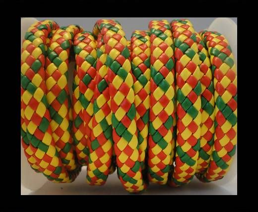 Flat Thick Braided Leather -10mm- Flash Style