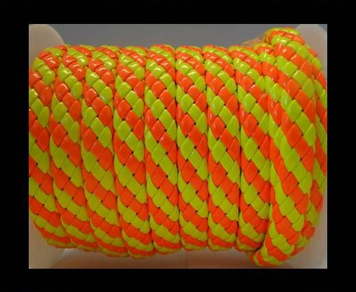 Flat Thick Braided Leather -10mm- Neon style