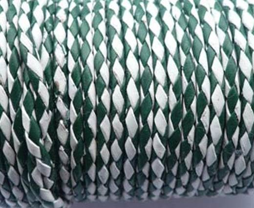 Round Braided Leather Cord SE/B/25-Green-White - 5mm