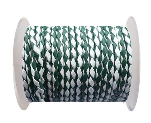 Round Braided Leather Cord SE/B/25-Green-White - 3mm