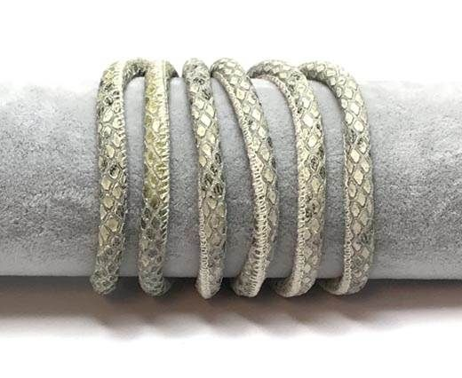 Real Round Nappa Leather cords 6mm- Snake style-Green grey