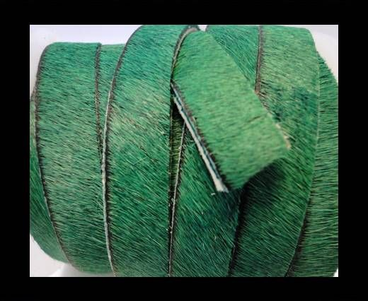 Hair-On Leather Flat-Hunter Green-20mm