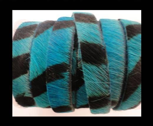 Hair-On Leather Flat-Turquoise Zebra Print-20mm