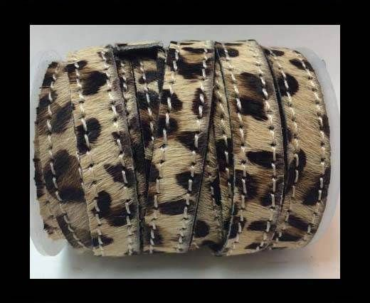 Hair-On-Flat Leather-leopard small dotts with stitches-10MM