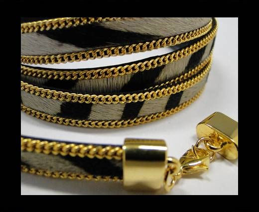 Hair-On Leather with Gold Chain-10 mm - Zebra