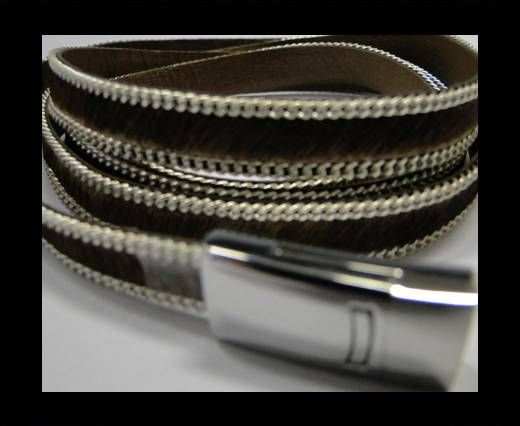 Hair-on leather with Chain - 10 mm - Brown