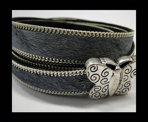 Hair-on leather with Chain - 14 mm - Grey