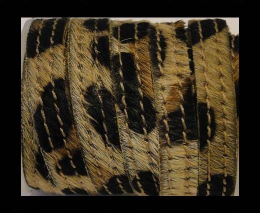 Hair-On Leather with Stitch-Leopard Skin-10mm