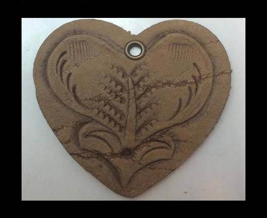 Heart 4cm - style 1 - Natural Leather Embossed