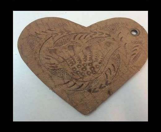 Heart 8cm - style 4 - Natural Leather Embossed