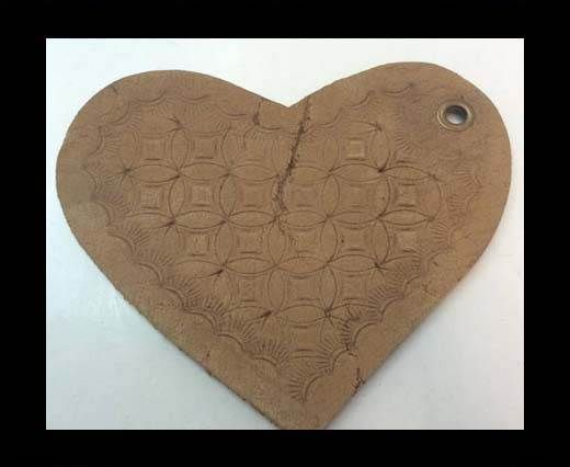 Heart 8cm - style 6 - Natural Leather Embossed