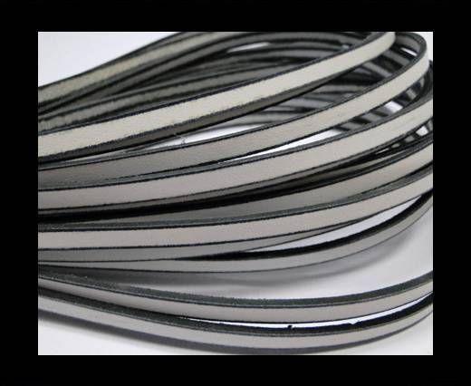 Flat Leather - 5 mm - Black edges - White