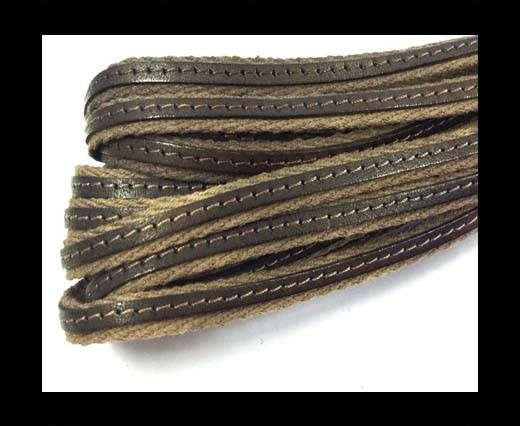 Italian Leather with Fabric - Brown -10mm