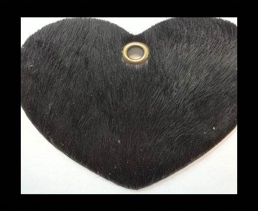 KC-Key Cord Heart Shape 4cm black hair-on