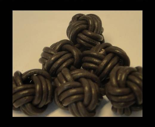 Leather Beads -12mm-Dark Brown