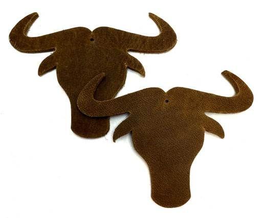 KC-Key Cord Buffalo Heads 7cm - Brown