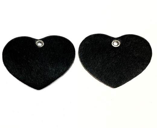 KC-Key Cord Heart Shape 4cm Black