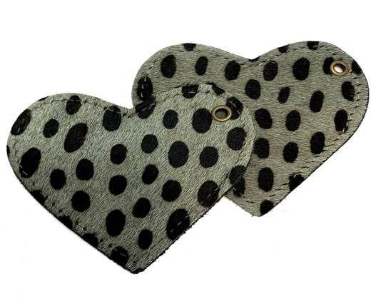 KC-Key Cord Heart Shape 8cm dalmata green hair-on