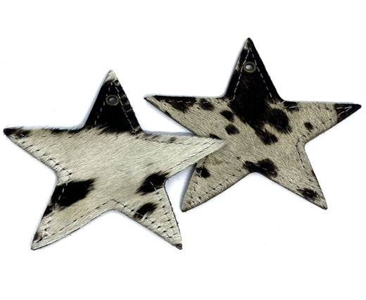 KC-Key Cord Star Shape 8cm cow white and black hair-on