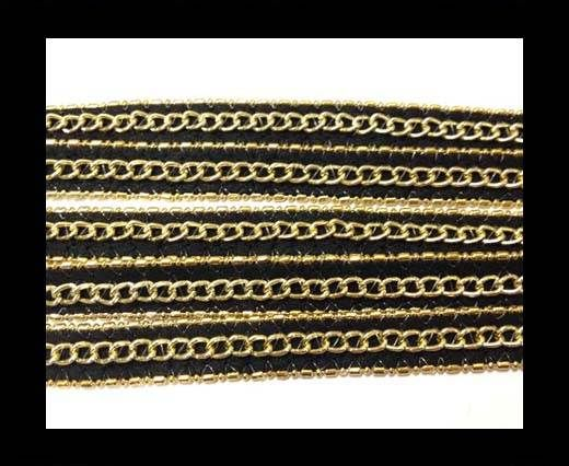 Leather with 3 chains-10mm-Black