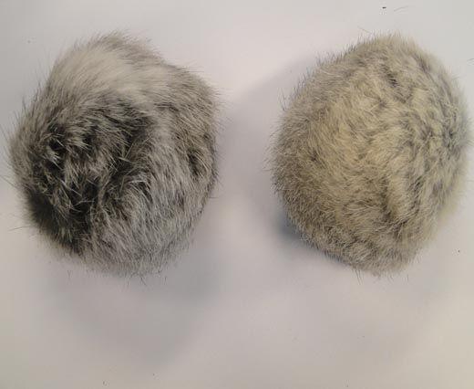Rabbit Fur Pom Pom-Light Grey-8cms
