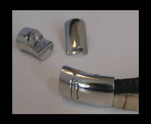 Locks for leather/Cords ZAML-78-10X6,5mm Steel Finish