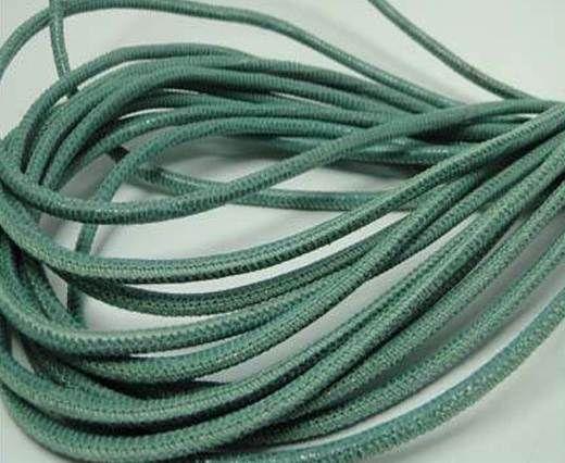 Round stitched nappa leather cord Lizard Prints-Menta Lizard- 2.5
