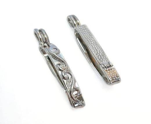 Magnetic Clasps, Zamak, Silver, MGL41-36x4,5mm