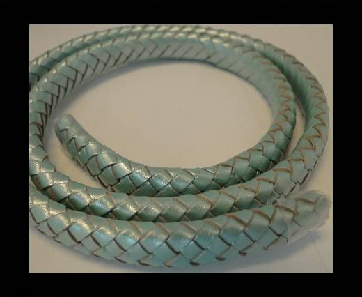 Oval Braided Leather Cord - 10mm-Metallic Mint