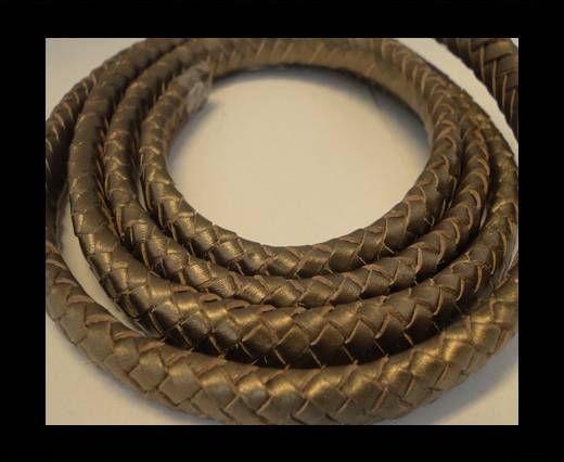 Oval Braided Leather Cord - 10mm-Metallic Tamba