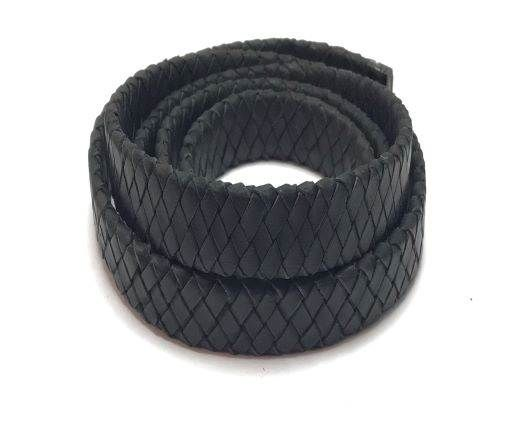 Oval Braided Leather Cord-15.5 by 4.5mm-dark brown