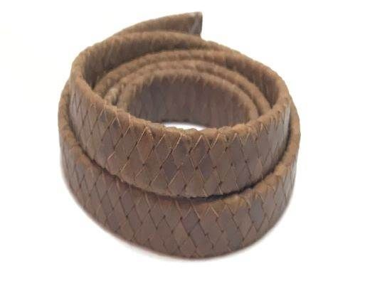 Oval Braided Leather Cord-15.5 by 4.5mm-natural