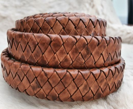 Oval Braided Leather Cord-15.5 by 4.5mm-PB- 04