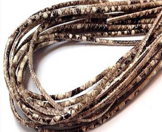 Round stitched nappa leather cord 3mm-Python Brown