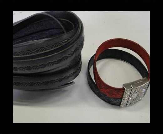 Real Flat Leather-10MM-Ceasar style-Grey
