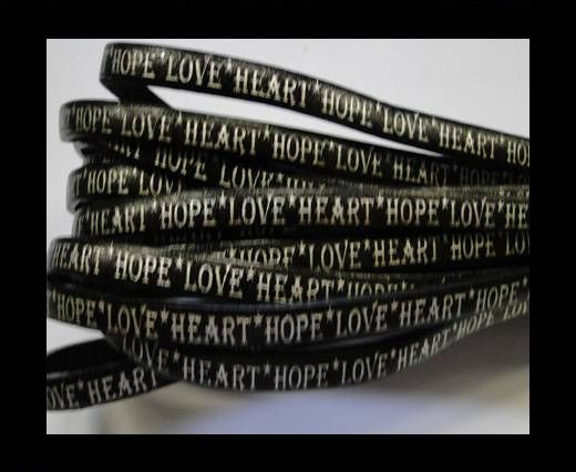 Real Flat Leather-5MM-Hope Love Heart style-Black-Silver